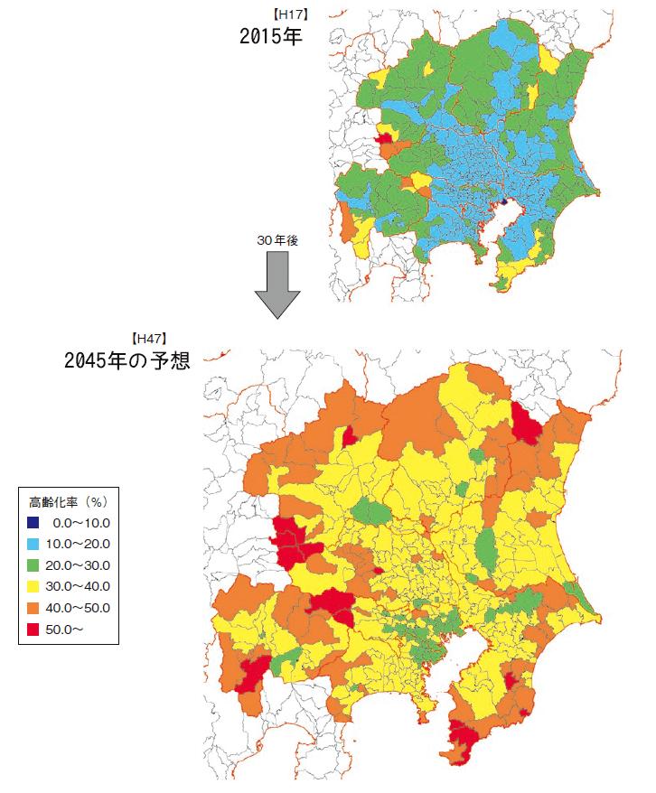 首都圏の高齢者割合の比較